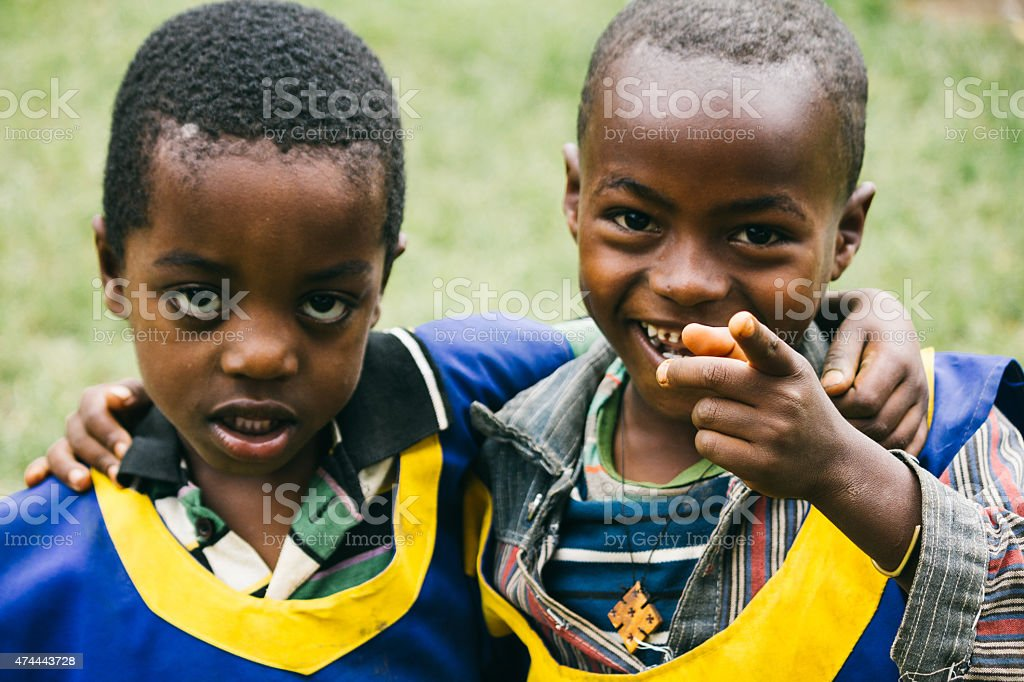 Ethiopian children looking at the camera stock photo
