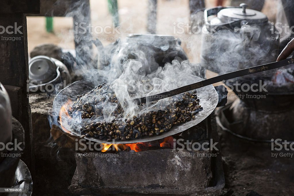 Ethiopian coffee roasted in a traditional way stock photo