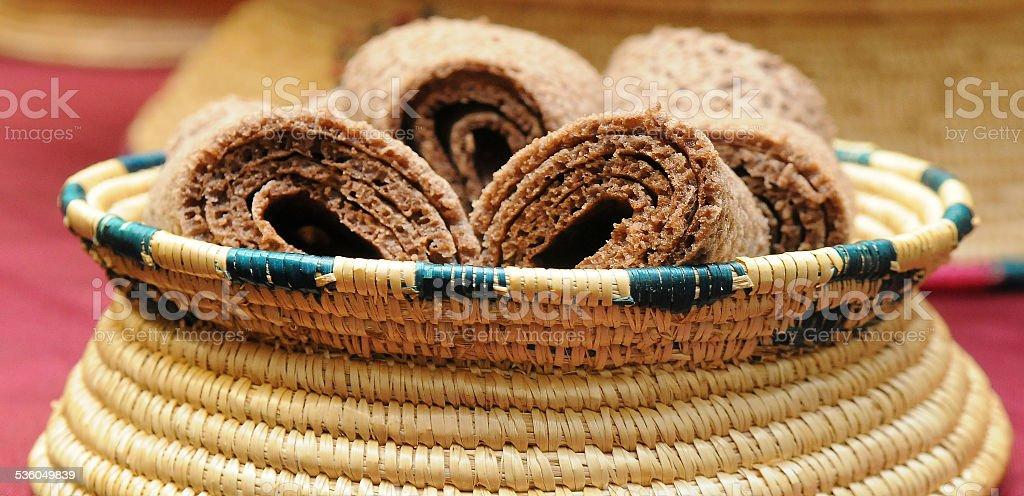 Ethiopian Dinner Bread Basket stock photo