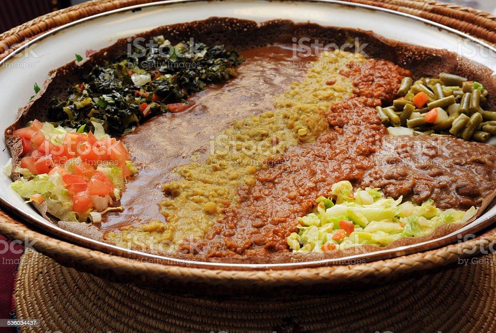 Ethiopian Dinner Presented stock photo
