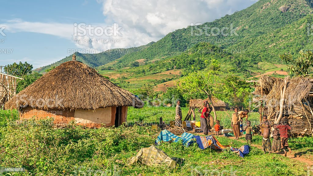 Ethiopian family preparing dinner in the southern part of Ethiopia stock photo