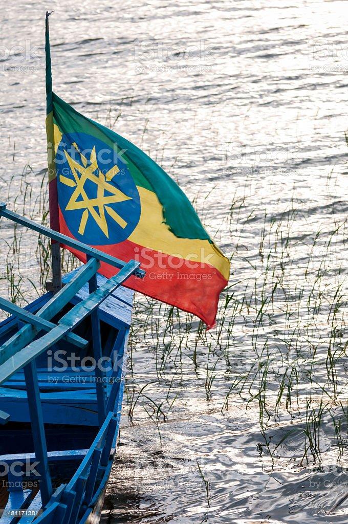 Ethiopian flag on boat at Lake Awasa stock photo