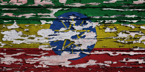 ethiopian flag painted on a grunge plank - ethiopian flag stock photos and pictures