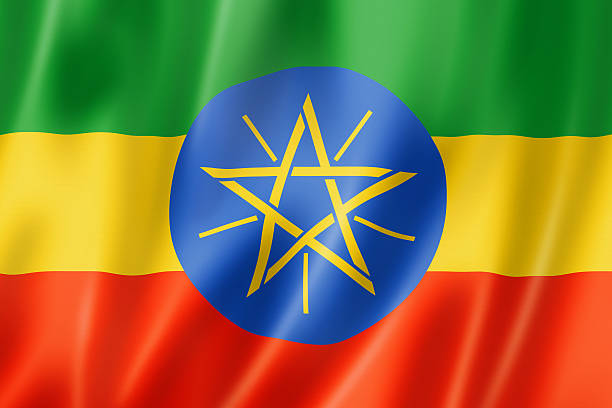 ethiopian flag - ethiopian flag stock photos and pictures