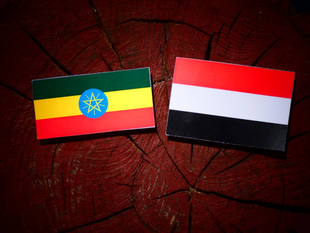 ethiopian flag with yemeni flag on a tree stump isolated - ethiopian flag stock photos and pictures