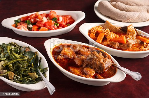Variety of  Ethiopian Dishes with Injera