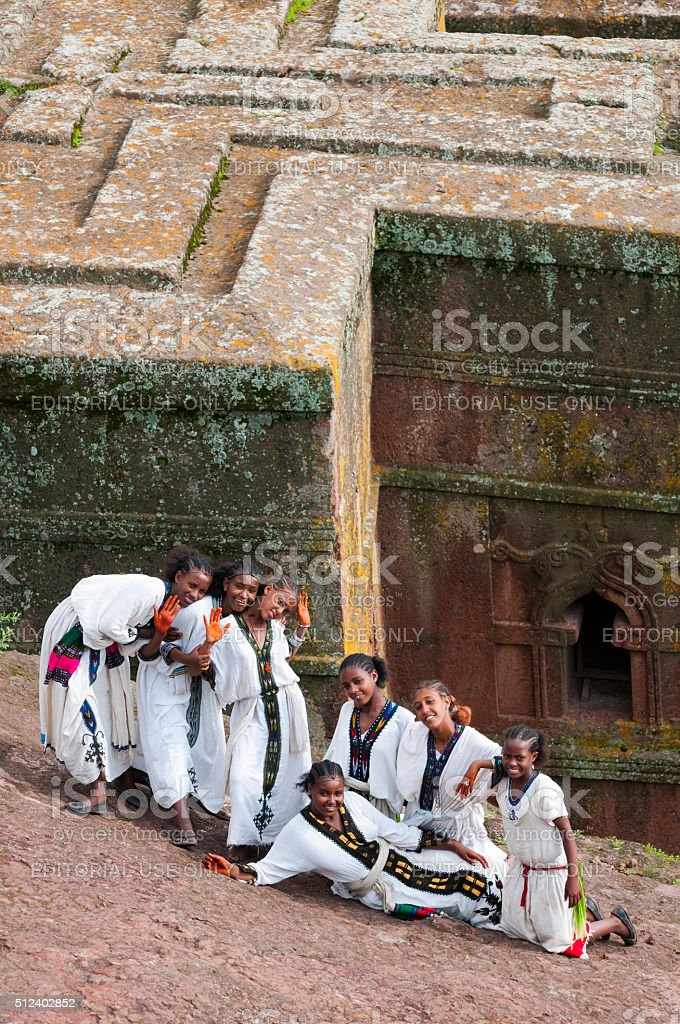Ethiopian girls at Bete Giyorgis (Lalibela, Ethiopia) stock photo