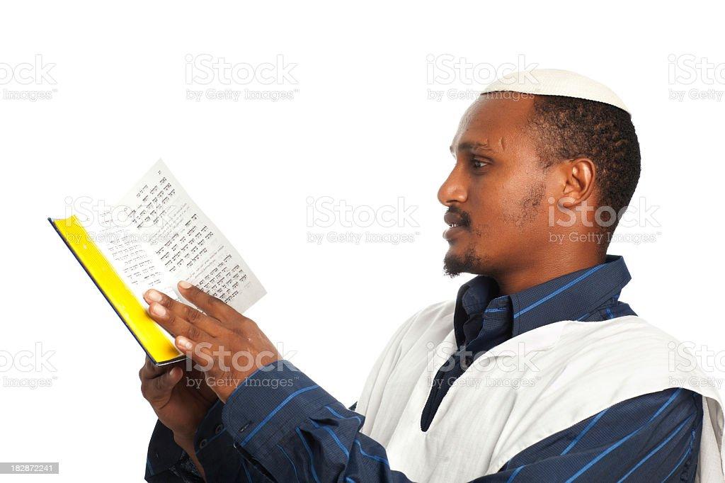 Ethiopian Jew praying. stock photo