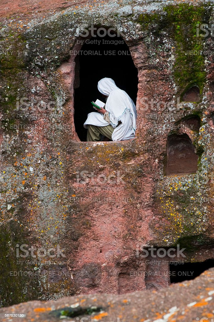 Ethiopian Orthodox Monk in Lalibela, Ethiopia stock photo