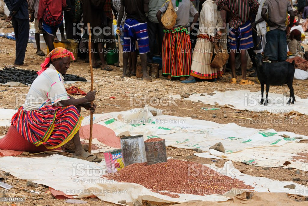 Ethiopian people being a market stock photo