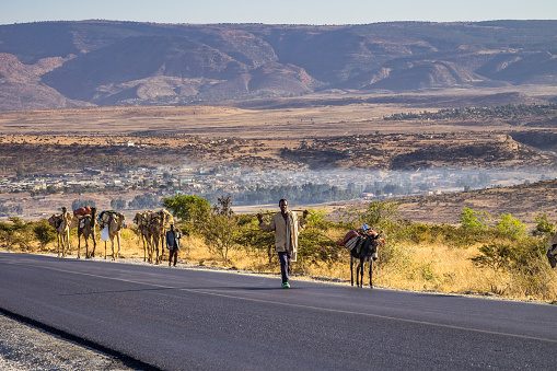 Ethiopian people seen on the road from Lalibela to Gheralta in Northern Ethiopia.