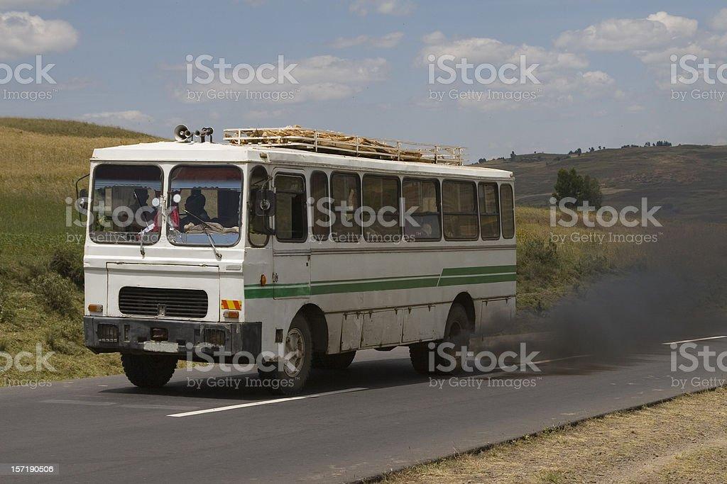Ethiopian smoking public bus stock photo