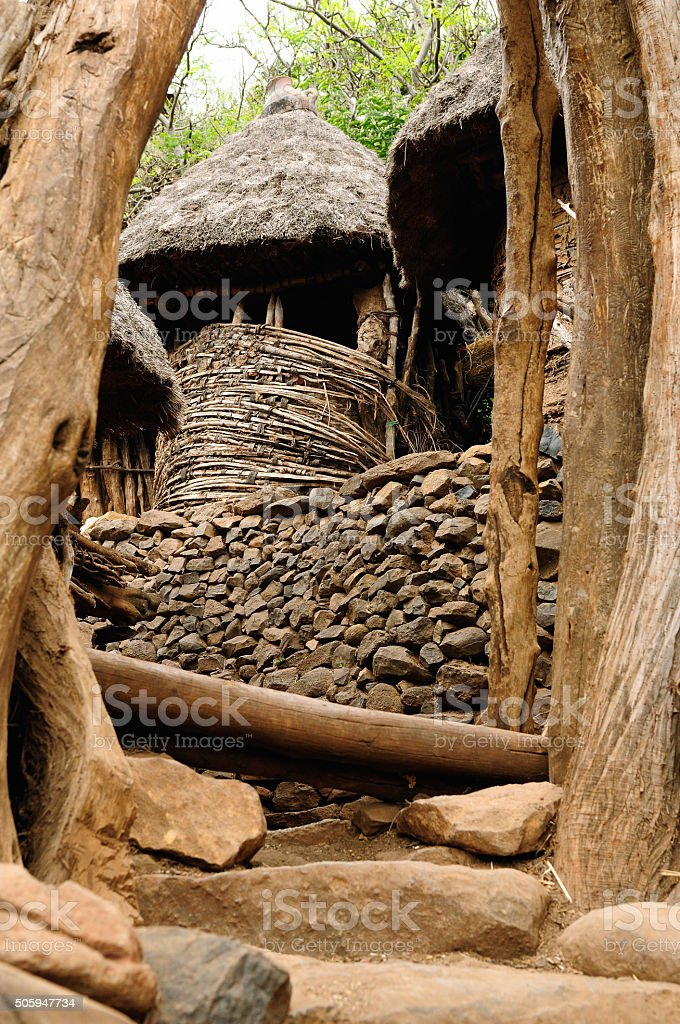Ethiopian village in Lower Omo Valley stock photo