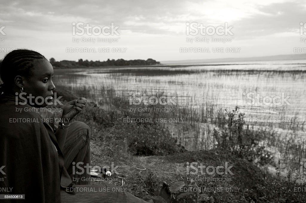 Ethiopian woman at Lake Awasa stock photo