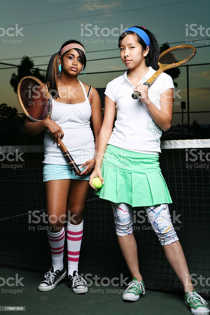 Ethnic 80's Tennis Players royalty-free stock photo
