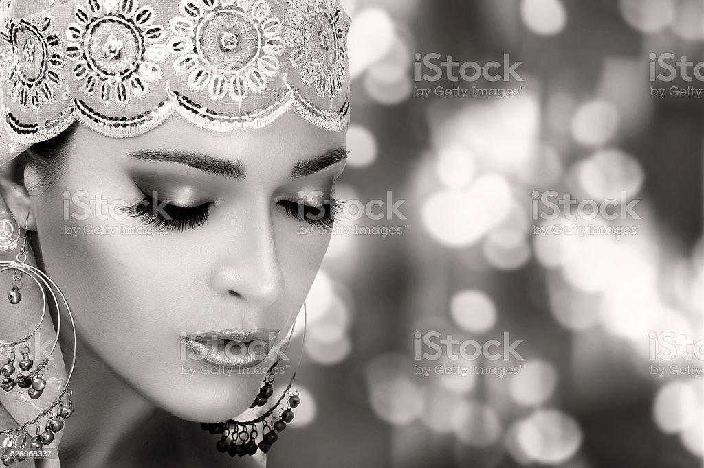 Ethnic Beauty Fashion. Ethnic Woman. Monochrome Portrait stock photo