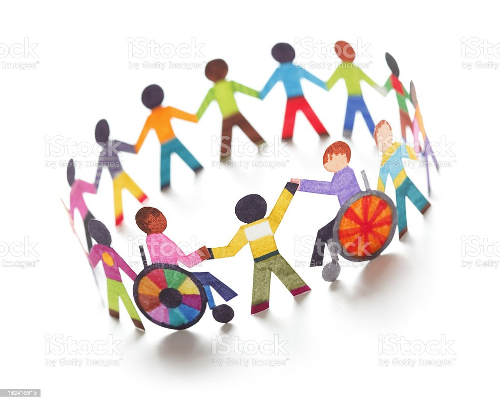 Ethnic circle with handicapped people - paper concept stock photo