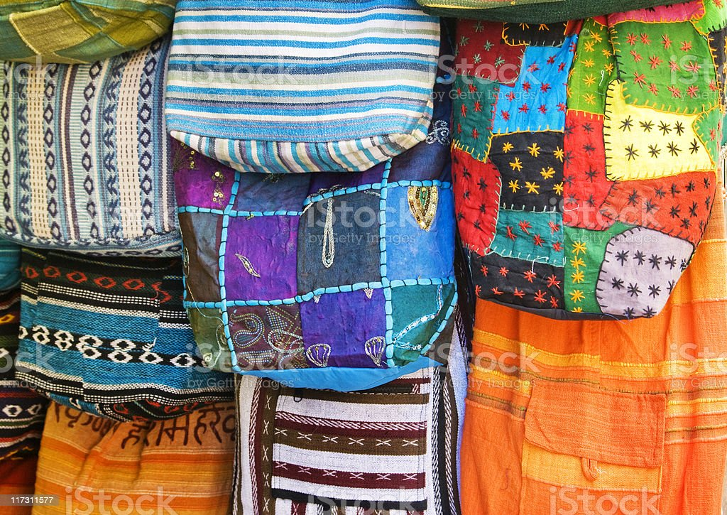 Ethnic colorful bags royalty-free stock photo