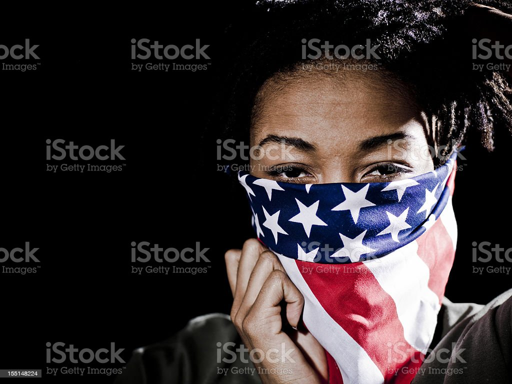 Ethnic Female protester stock photo