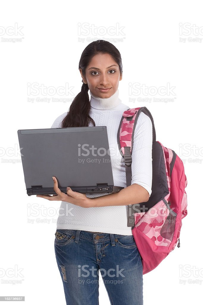 ethnic Indian College student with laptop PC royalty-free stock photo