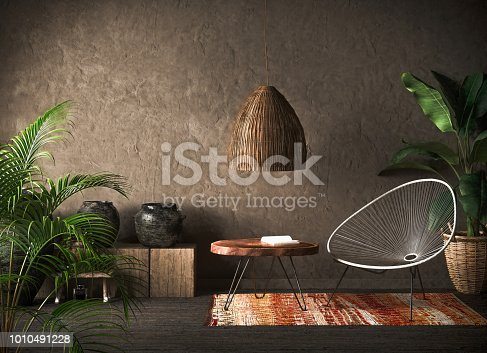 Ethnic interior backgroud, 3d render