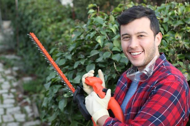 Jardineiro masculino étnico que sorri no trabalho - foto de acervo