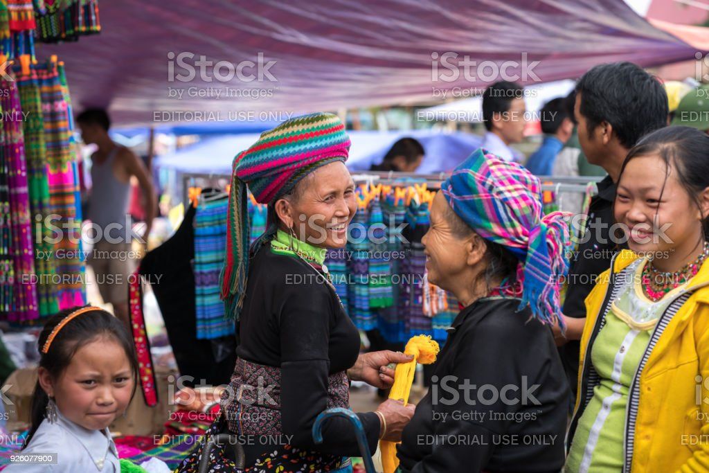 Ethnic minority people at local market in Y Ty, Bat Xat district stock photo