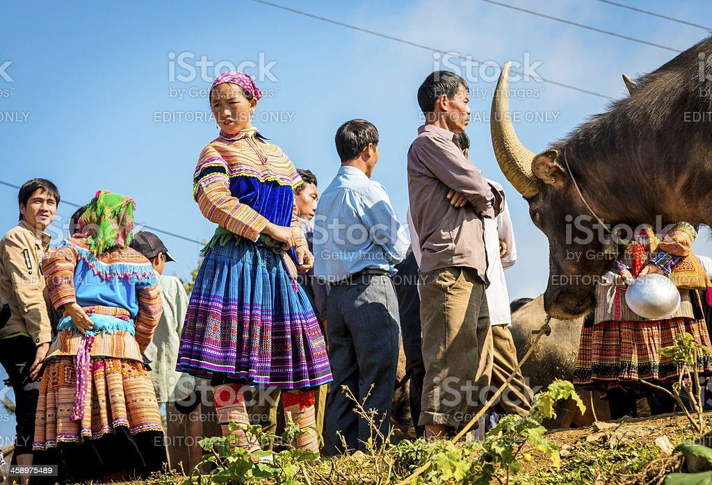 Ethnic Minority People at market, Vietnam stock photo