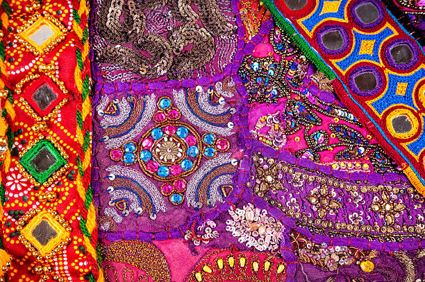 Ethnic Rajasthan cushion and belts stock photo