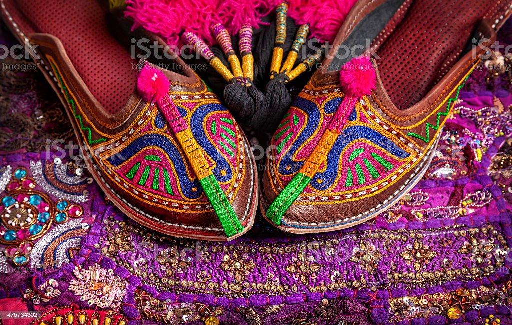 Ethnic Rajasthan shoes stock photo
