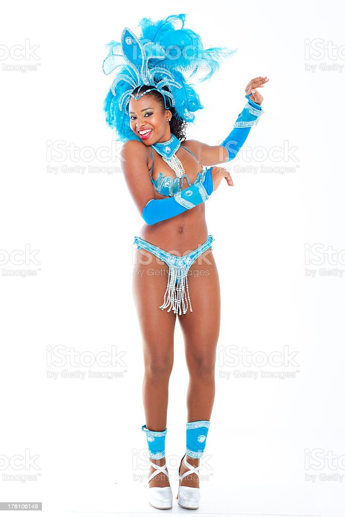 Ethnic Samba dancer in bright blue feathered costume  stock photo