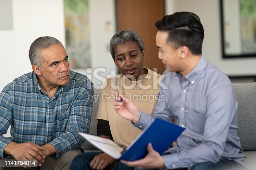 A black couple are in a meeting with a financial advisor. They are devising a financial plan while relaxing in their home.