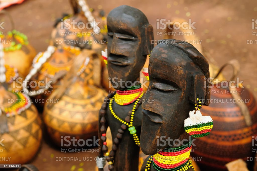 Ethnic souvenirs sold to the market in the open air stock photo