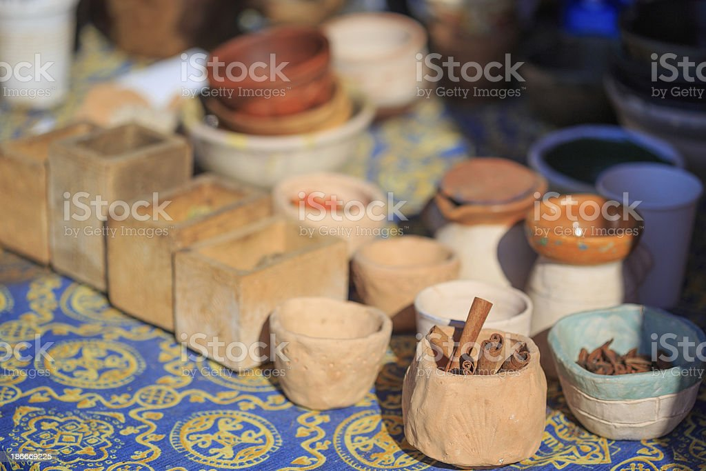 Ethnic spices and pottery royalty-free stock photo