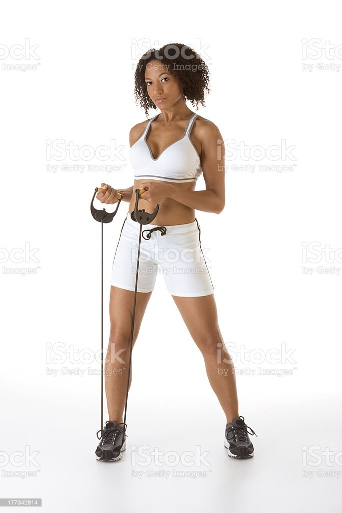 Ethnic woman exercising with Resistance Band stock photo