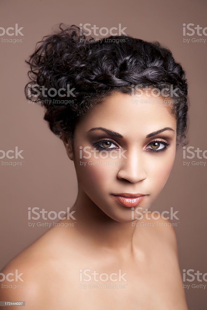 Ethnic woman with curly hair royalty-free stock photo