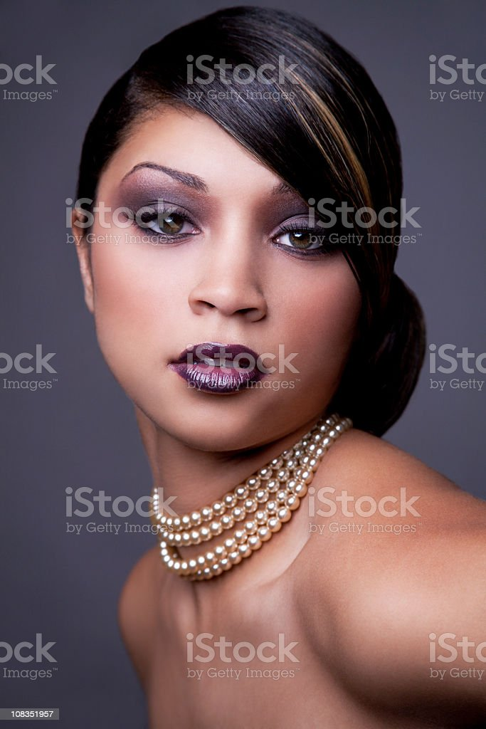 Ethnic woman with updo stock photo