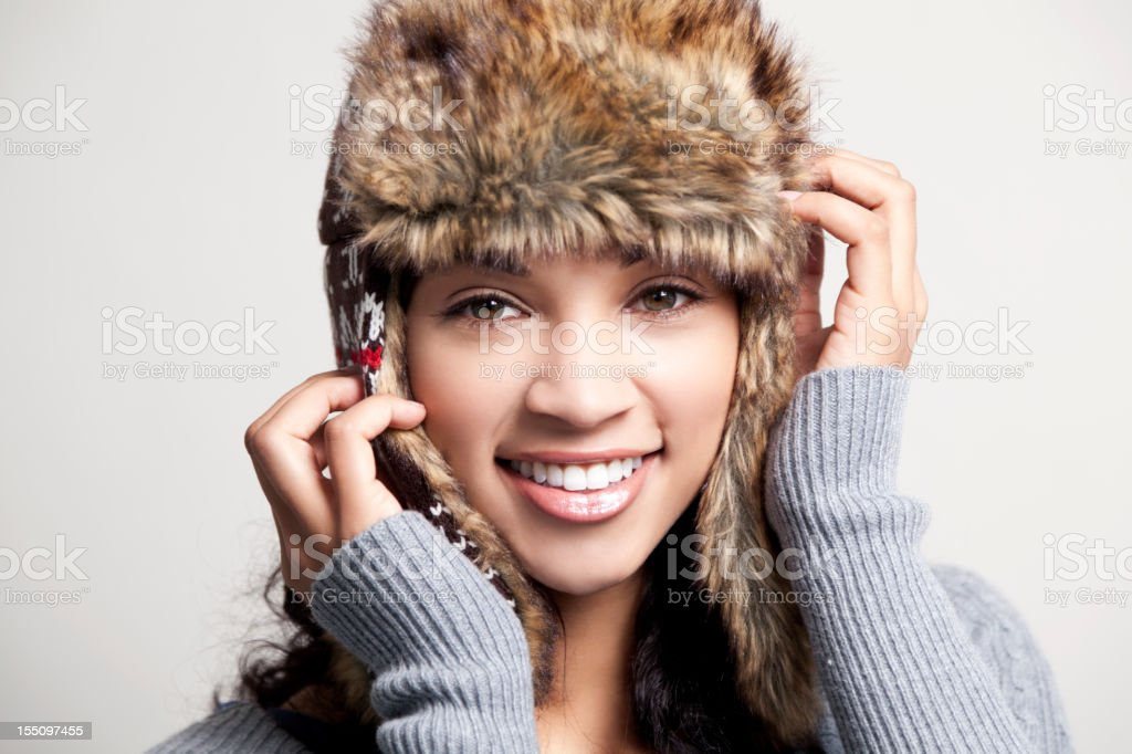 Ethnic woman with winter hat royalty-free stock photo