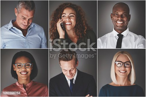 Collage of an ethnically diverse group of professional businessmen and businesswomen smiling confidently