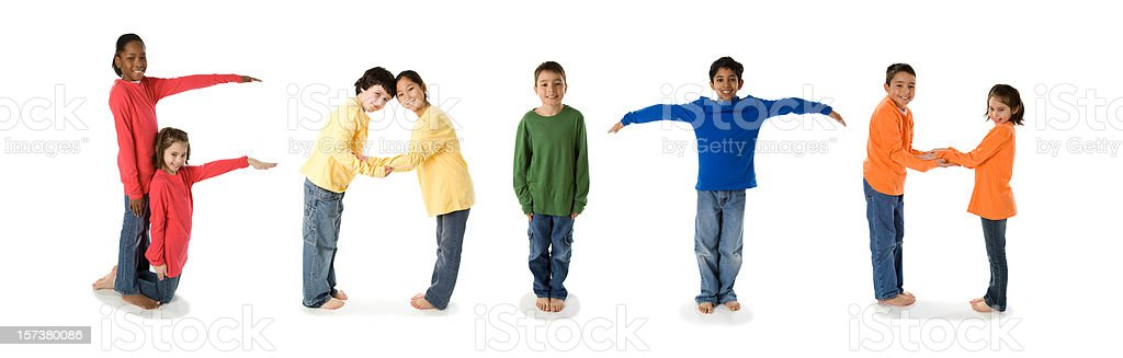 Ethnically Diverse Children Spell Faith royalty-free stock photo