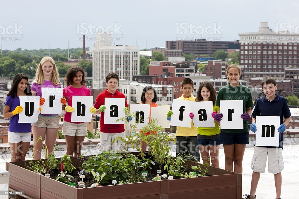 Ethnically Diverse Children With Rooftop Urban Farm Stock ...