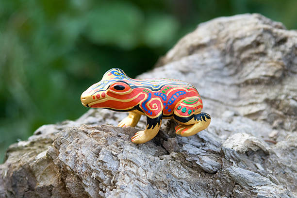 Ethnically painted frog stock photo