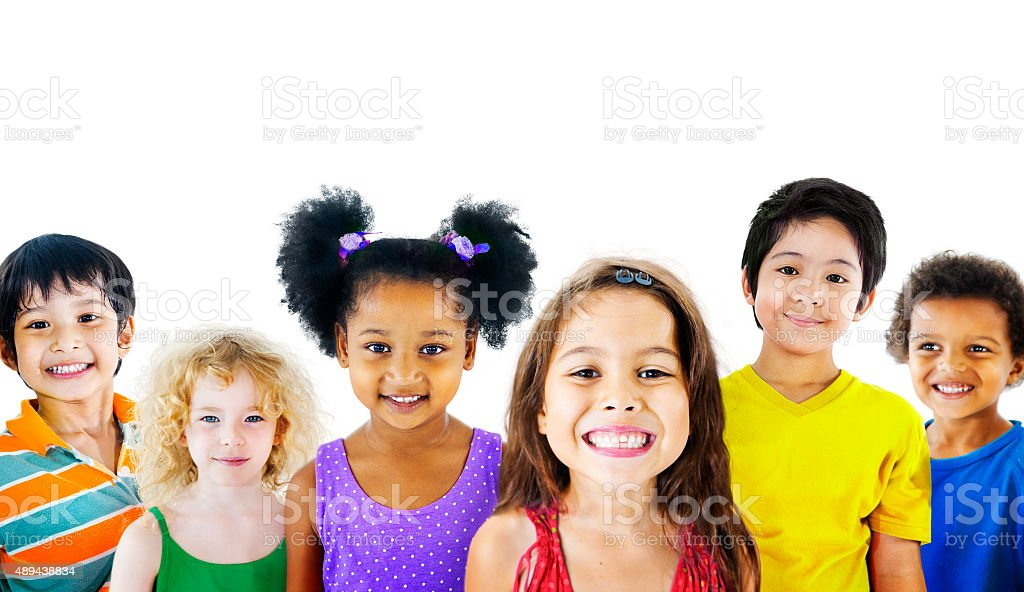 Ethnicity Diversity Gorup of Kids Friendship Cheerful Concept stock photo
