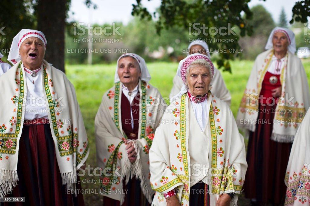 Ethnographic ensemble of Baltinava stock photo