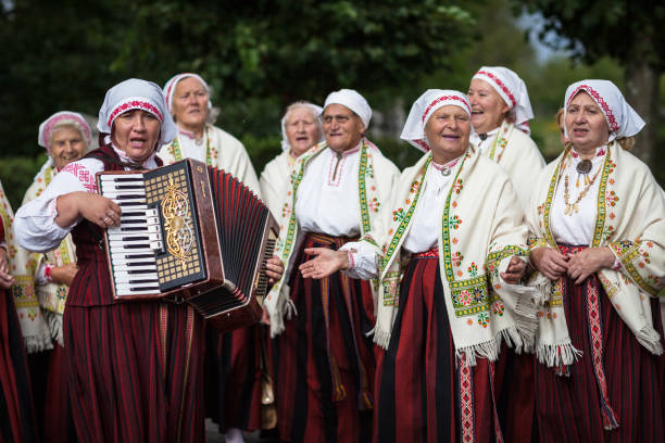 Ethnographic ensemble of Baltinava stock photo