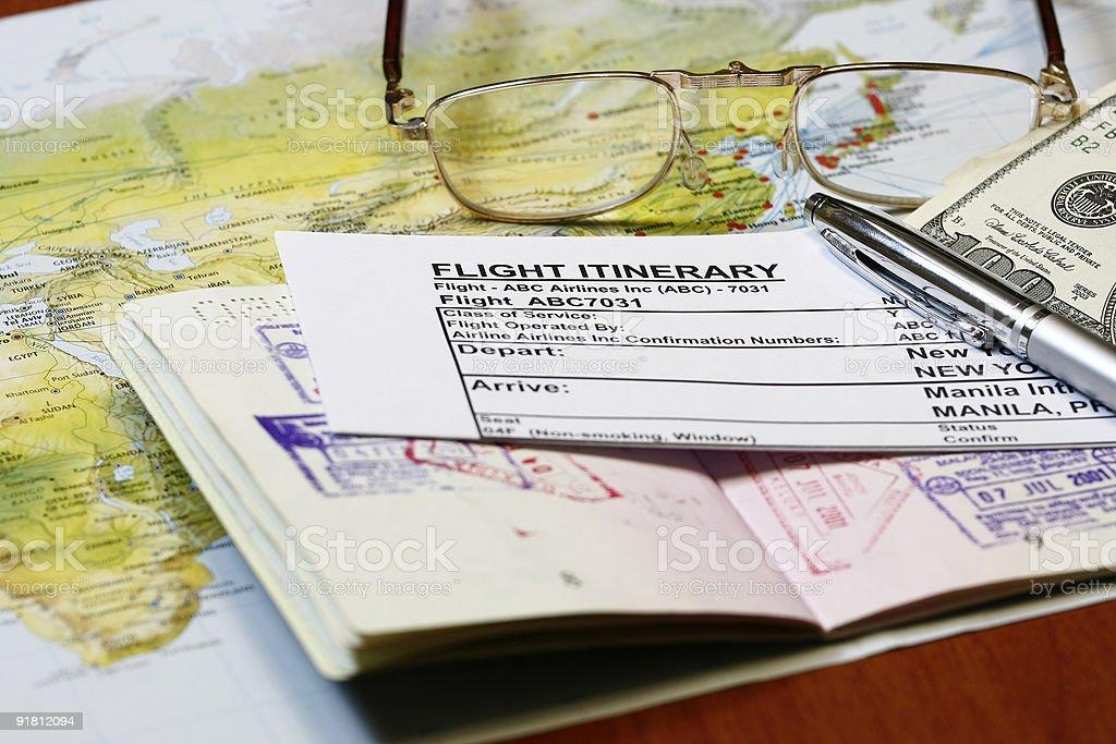 e-ticket itinerary stock photo