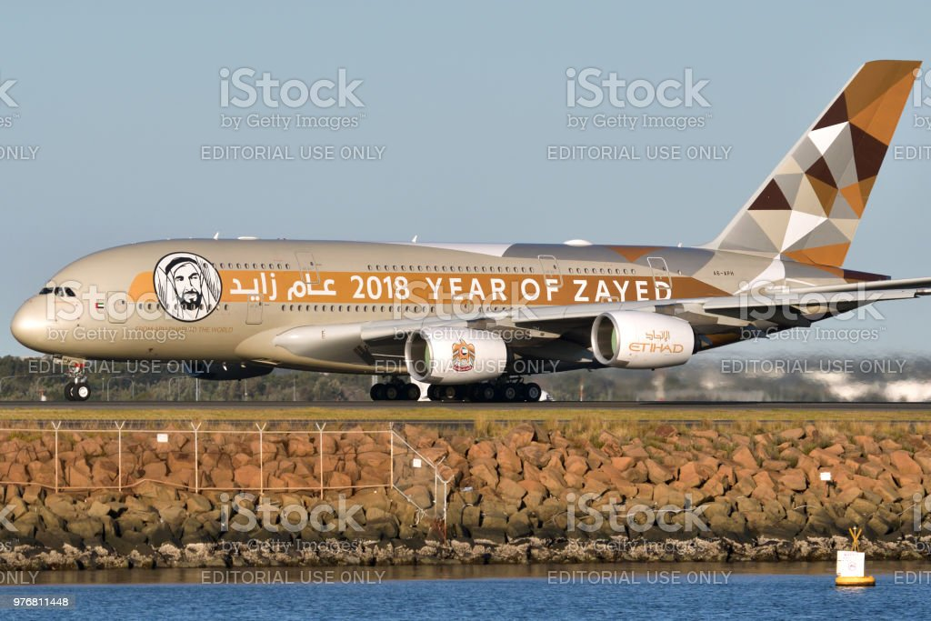 Etihad Airbus A380 current special paint 2018 stock photo