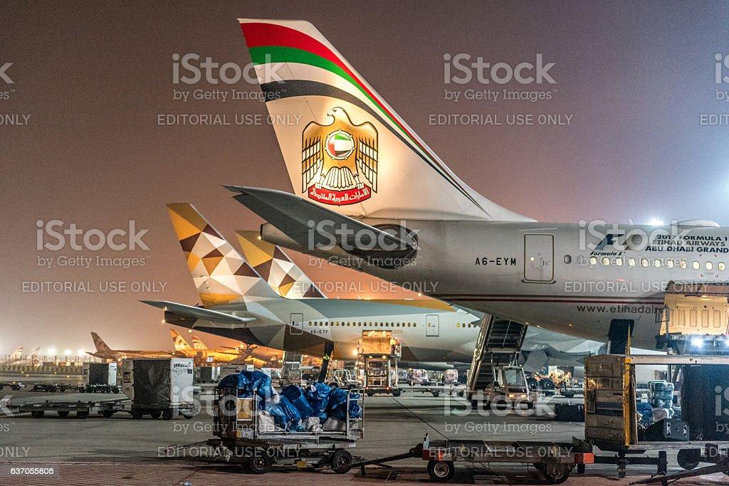 Etihad Boeing 777 stock photo