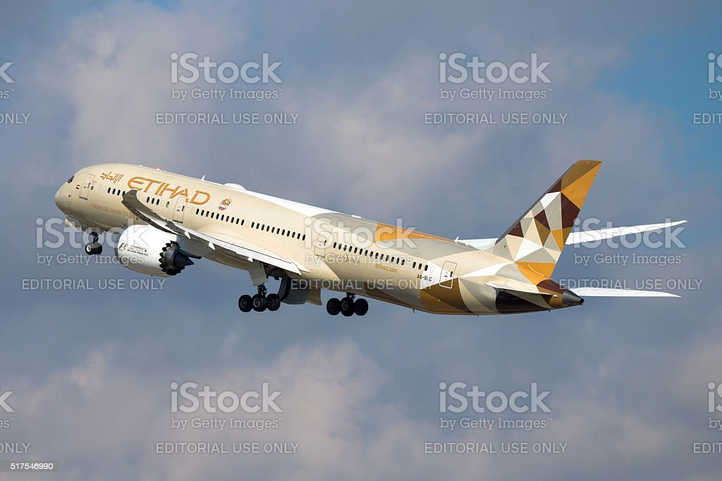 Etihad Boeing 787 Dreamliner stock photo