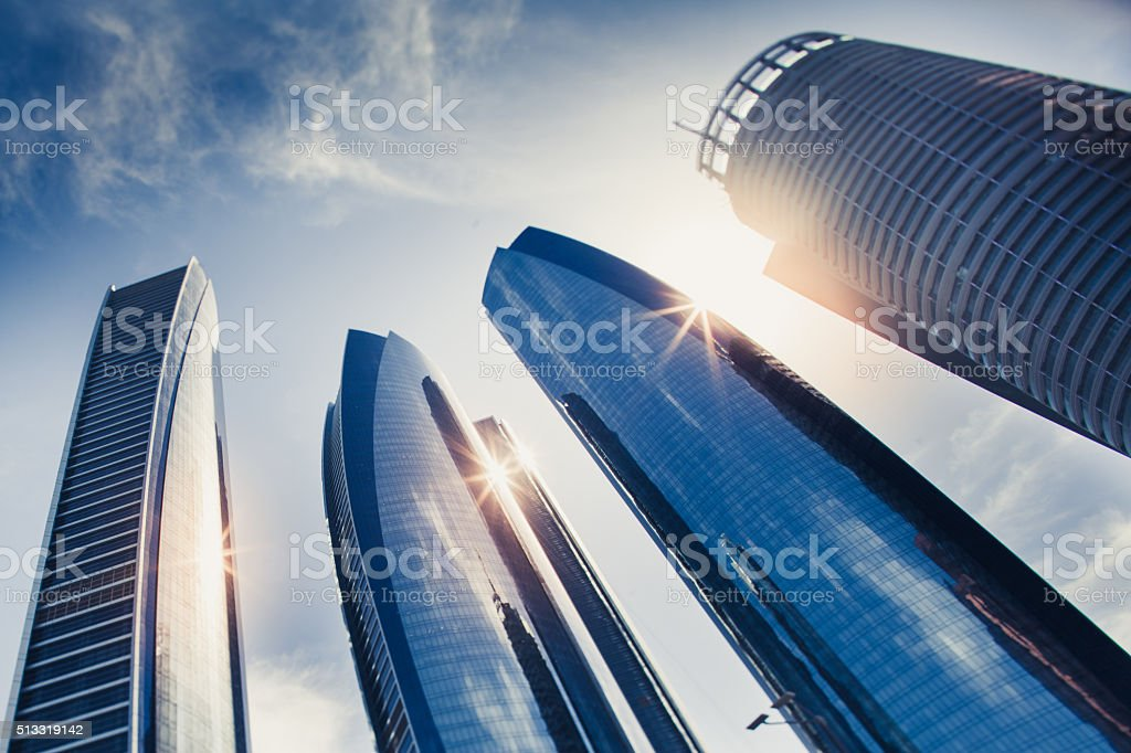 Etihad Tower skyscrapers in Abu Dhabi stock photo